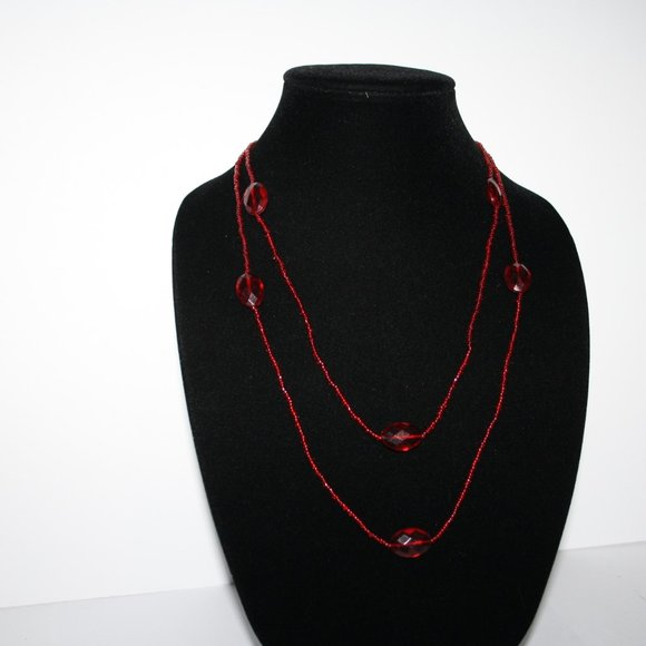 """Beautiful red beaded necklace 48"""""""